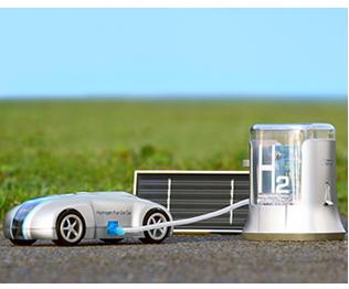 水と太陽の力で走る次世代の水素エネルギーカー「H-racer」